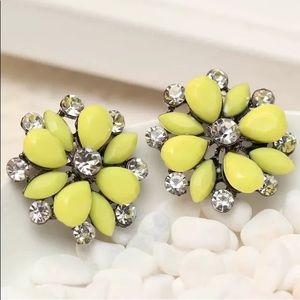 Lemonade Yellow and Crystal Flower Earrings